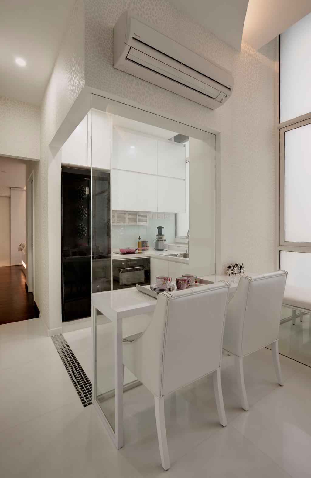 Modern, Condo, Dining Room, Casa Fortuna, Interior Designer, Space Atelier, Dining Table, Table, Chair, White, Glass Wall, Wallpaper, Safari, Cabinet, Black, Marble Tile, Marble Tiles, Appliance, Electrical Device, Oven, Sink