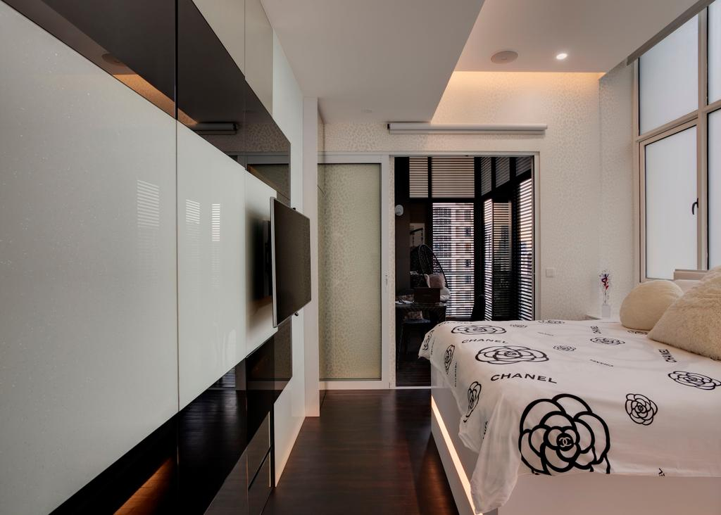 Modern, Condo, Bedroom, Casa Fortuna, Interior Designer, Space Atelier, Concealed Lighting, False Ceiling, Parquet, White, Feature Wall, Black, HDB, Building, Housing, Indoors, Loft, Banister, Handrail, Staircase
