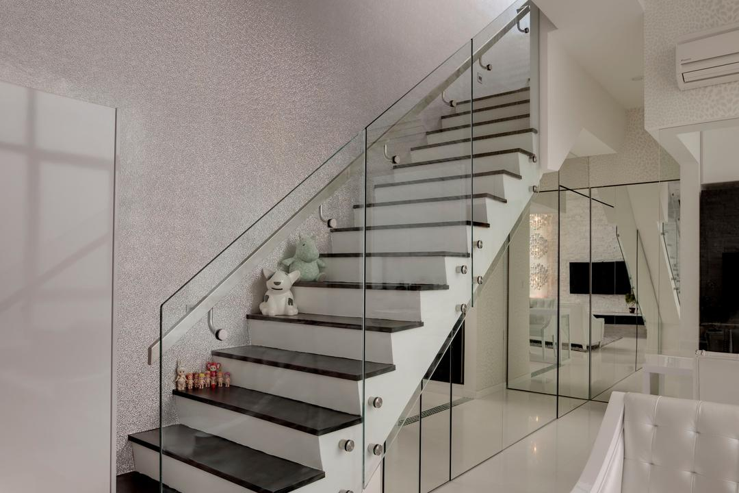 Casa Fortuna, Space Atelier, Modern, Living Room, Condo, Stairs, Staircase, Glass Railing, Railing, Handrails, Wallpaper, White, Mirror, Full Length Mirror, Sofa, Quilted, Rug, Marble Tile, Marble Tiles, Banister, Handrail, Bathroom, Indoors, Interior Design, Room