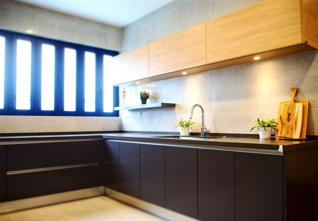 Industrial, Landed, Kitchen, Subang Jaya, Interior Designer, Meridian Interior Design, Indoors, Interior Design, Furniture, Sideboard