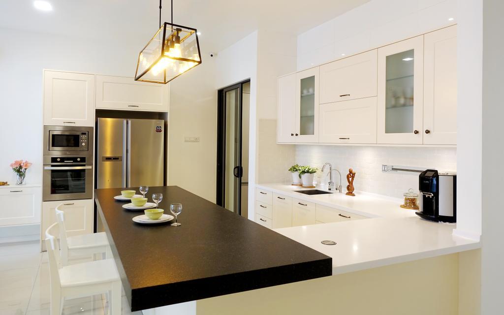 The Reeds, Commercial, Interior Designer, Meridian Interior Design, Minimalistic, Kitchen, Light Fixture, Dining Room, Indoors, Interior Design, Room, Lamp, Dining Table, Furniture, Table