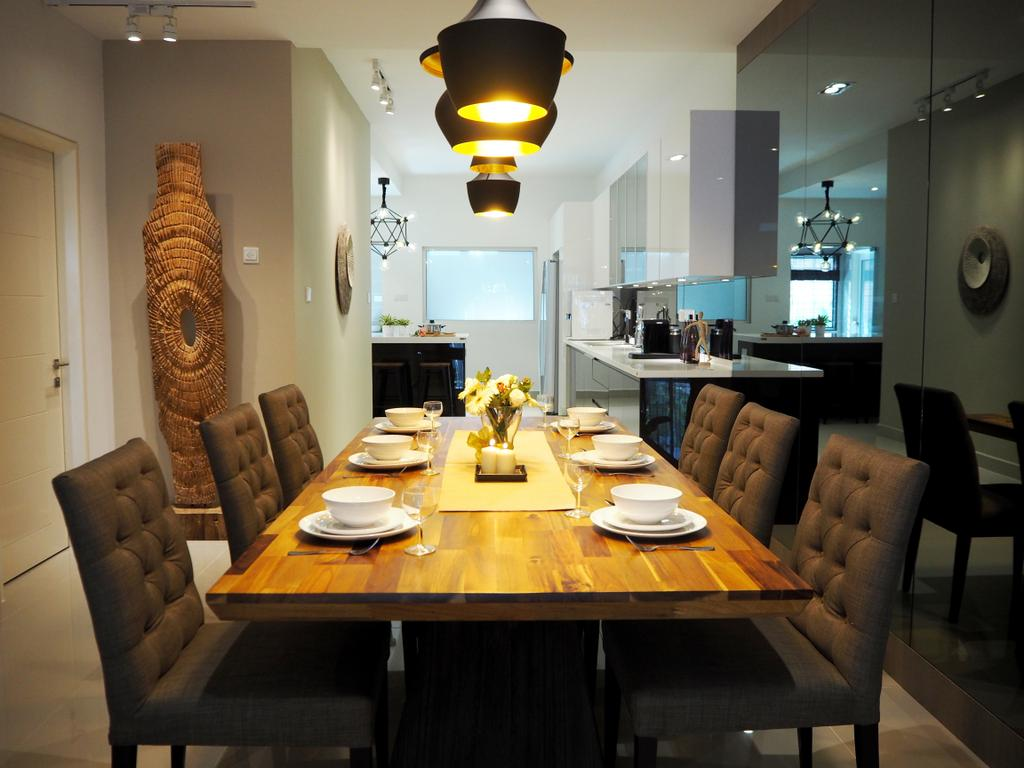 Contemporary, Landed, Dining Room, USJ Heights, Interior Designer, Meridian Interior Design, Couch, Furniture, Indoors, Interior Design, Room, Dining Table, Table, Apartment, Building, Housing