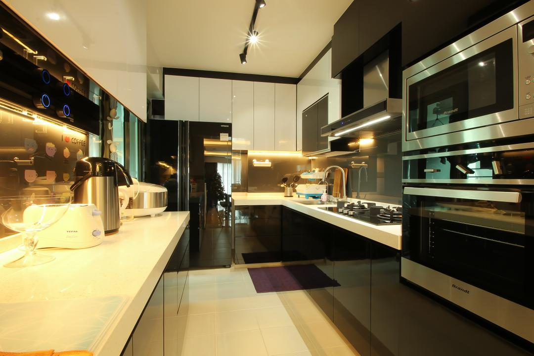 Punggol Drive (Block 679A), Fifth Avenue Interior, Modern, Kitchen, HDB, Black And White, Monochrome, Black And White Kitchen, White Countertop, Black Cabinet, Modern Kitchen, White Cabinet, Track Lighting, Appliance, Electrical Device, Oven, Indoors, Interior Design