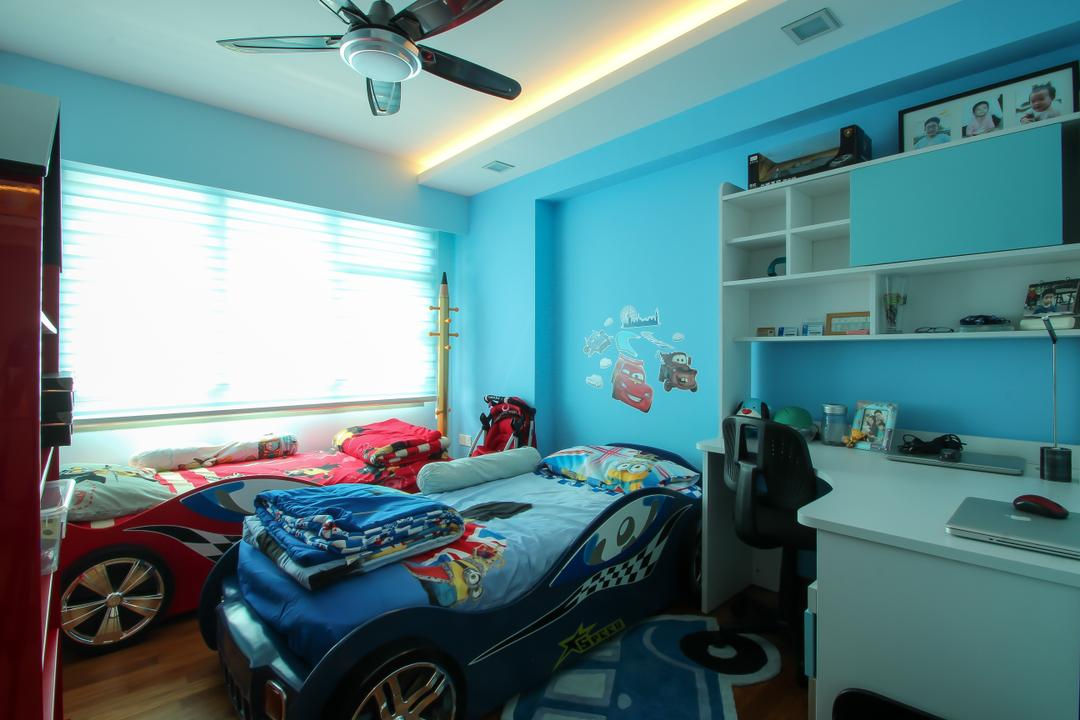 Punggol Drive (Block 679A), Fifth Avenue Interior, Modern, Bedroom, HDB, Ceiling Fan With Lamp, Kids Room, Kids, Children, Study Table, Cartoon, Single Bed, Wall Decal, Blue Bedroom, Blue Wall, Shelves, Indoors, Interior Design, Room