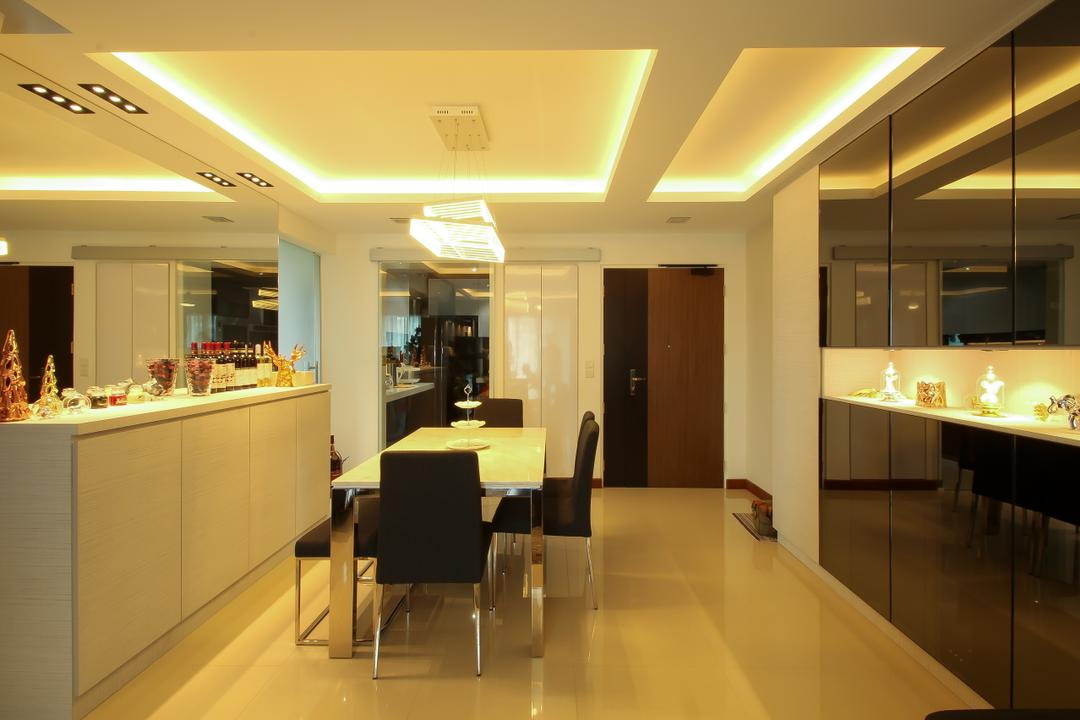 Punggol Drive (Block 679A), Fifth Avenue Interior, Modern, Dining Room, HDB, False Ceiling, Cove Lighting, Dining Table, Chairs, Door, Cabinet, Black Cabinet, Warm Lighting, Yellow Lights, Lighting, Sink, Furniture, Table
