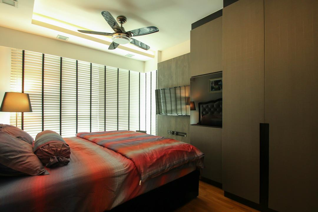 Punggol Drive (Block 679A), Fifth Avenue Interior, Modern, Bedroom, HDB, Blinds, Venetian Blinds, Ceiling Fan, Ceiling Fan With Lamp, Cabinetry, Cabinet, Stand Lamp, Standing Lamp, Wall Mounted Tv, Bed, Furniture, Indoors, Interior Design, Room