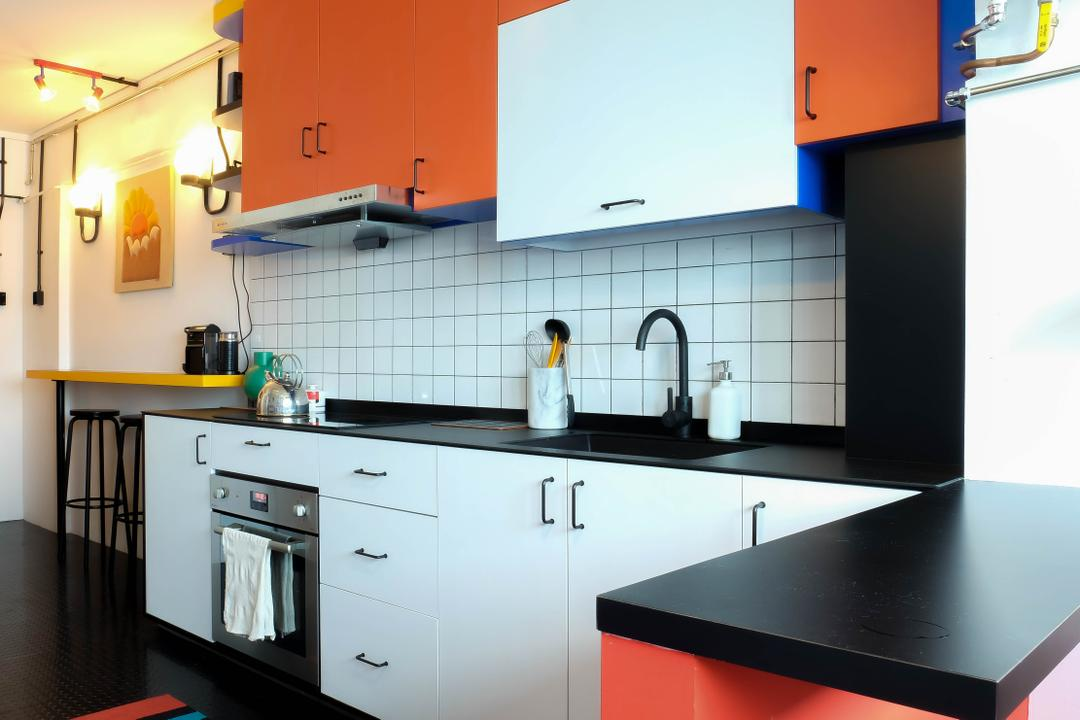 Simei Street (Block 133), Fifth Avenue Interior, Eclectic, Kitchen, HDB, Colours, Colourful, Orange Cabinet, Orange, Colourful Kitchen, Colourful Cabinet, Subway Tiles, Kitchen Cabinet, Black Countertop, Kitchen Sink, Oven, Exhaust Hood, Indoors, Interior Design, Room, Appliance, Electrical Device