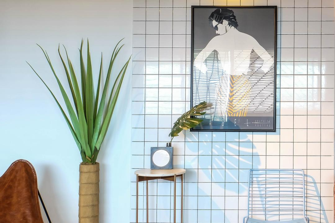 Simei Street (Block 133), Fifth Avenue Interior, Eclectic, Living Room, HDB, Subway Tiles, White Subway Tiles, White Tiles, Human, People, Person, Suede, Flora, Jar, Plant, Potted Plant, Pottery, Vase