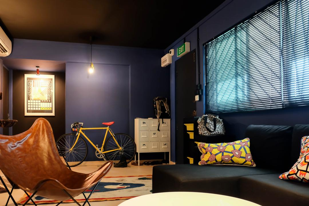 Simei Street (Block 133), Fifth Avenue Interior, Eclectic, Living Room, HDB, Blue Wall, Dark Walls, Dark Colours, Colourful, Couch, Furniture, Bicycle, Bike, Transportation, Vehicle, Indoors, Interior Design