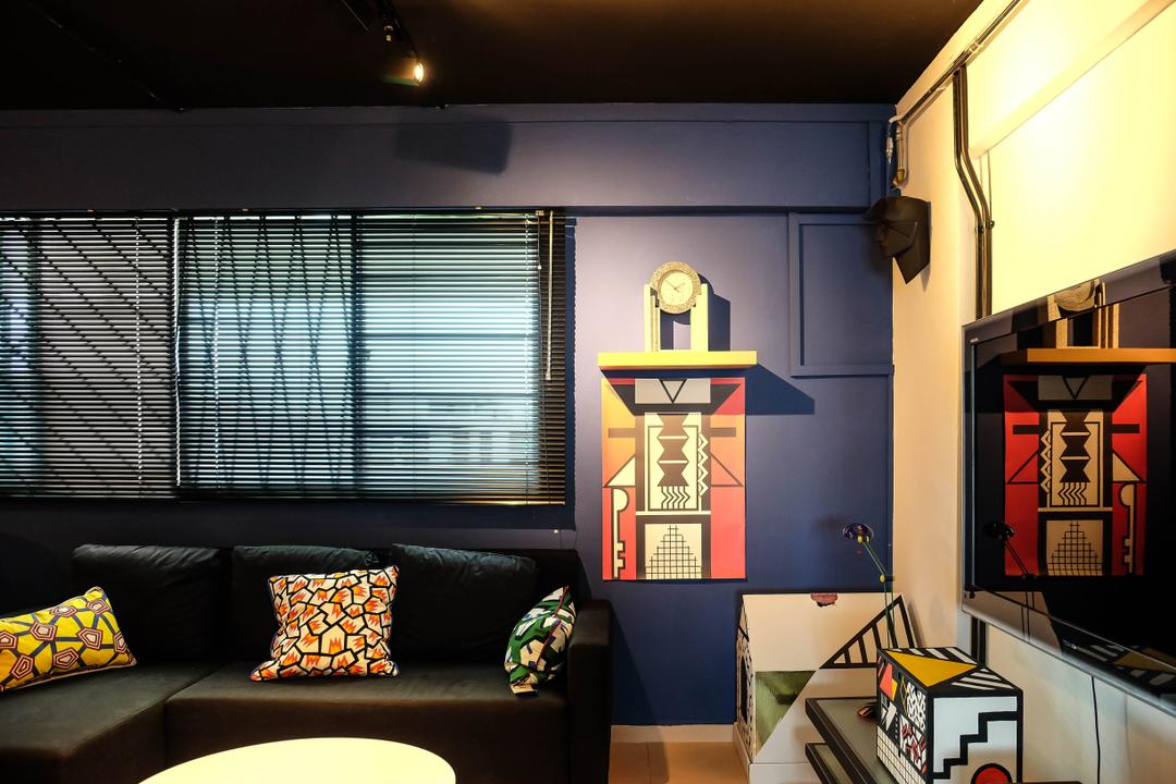 Simei Street (Block 133), Fifth Avenue Interior, Eclectic, Living Room, HDB, Pop Art, Loud, Loud Colours, , Colourful, Patterns, Black Sofa, Cushions, Blinds, Clock, Retro, Painting, Home Decor, Couch, Furniture, Wallet, Restaurant