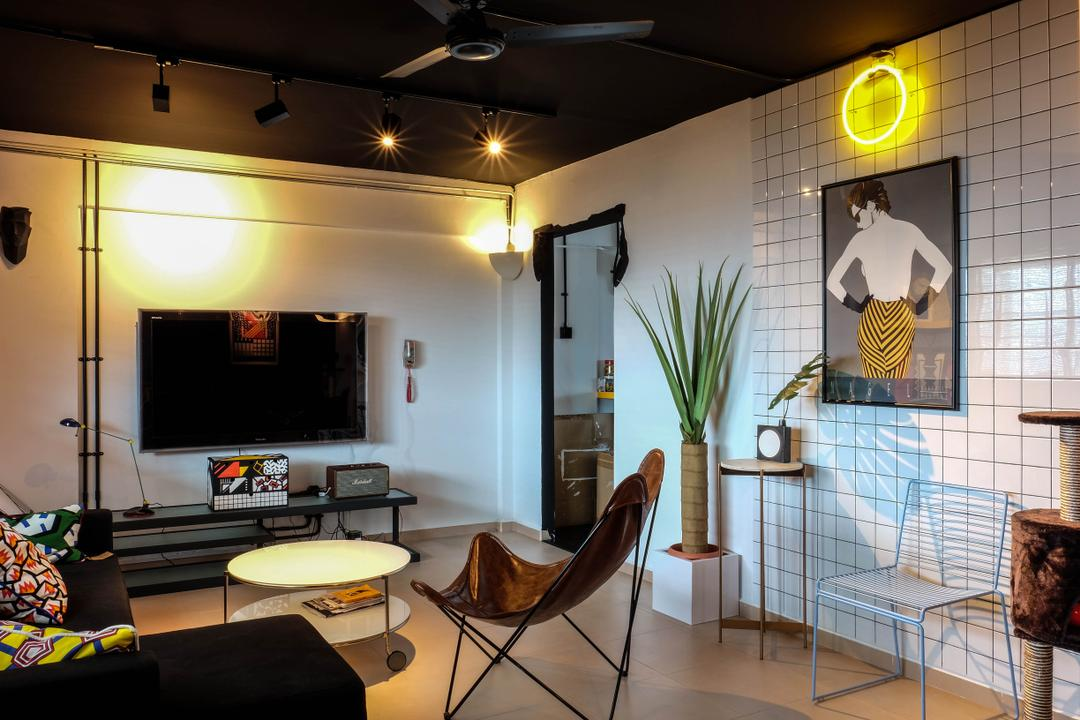 Simei Street (Block 133), Fifth Avenue Interior, Eclectic, Living Room, HDB, Coffee Table With Wheels, Tv Console, Warm Lighting, Potted Plant, Chair, Retro Furniture, Painting, Wall Decor, Wall Frame, Furniture, Flora, Jar, Plant, Pottery, Vase, Dining Room, Indoors, Interior Design, Room