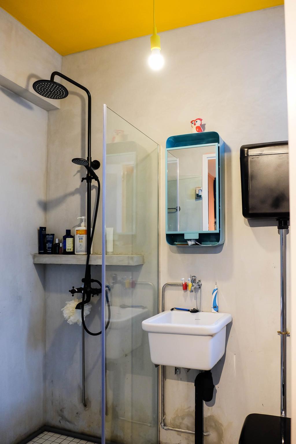 Eclectic, HDB, Bathroom, Simei Street (Block 133), Interior Designer, Fifth Avenue Interior, Bathroom Sink, Sink, Mirror, Shower Screen, Showerhead