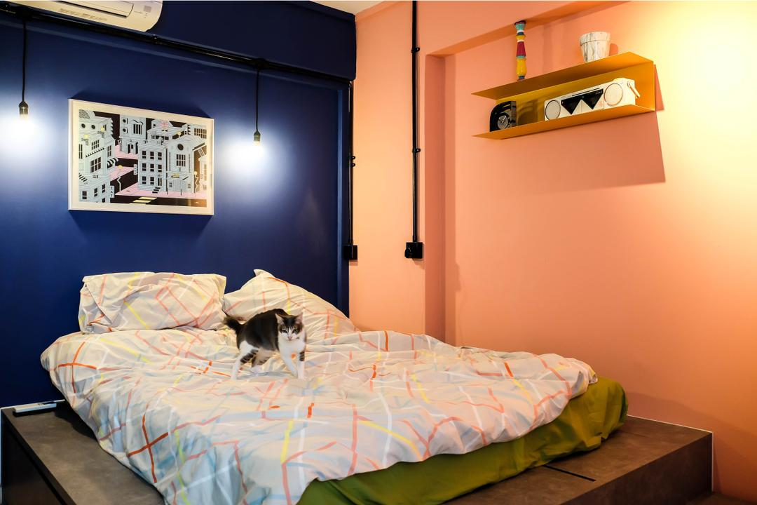 Simei Street (Block 133), Fifth Avenue Interior, Eclectic, Bedroom, HDB, Colourful Walls, Colour Pop, Striking Colour, Wall Shelf, Platform Bed, Blue Wall, Orange Wall, Bed, Furniture, Indoors, Interior Design, Room, Animal, Canine, Chihuahua, Dog, Mammal, Pet