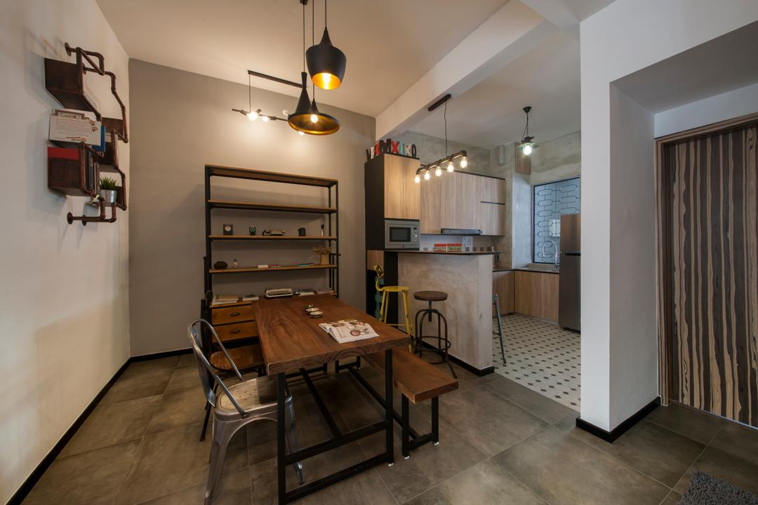 Lakepoint (Block 10), Voila, Industrial, Dining Room, Condo, Dining Table, Bench, Tolix Chair, Pendant Lamp, Hanging Lamp, Concrete Flooring, Shelves, Shelving, Raw, Appliance, Electrical Device, Oven, Indoors, Room, Shelf