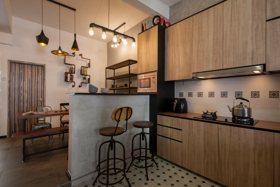 Lakepoint (Block 10), Voila, Industrial, Kitchen, Condo, Bar Stool, High Stool, Kitchen Stool, Kitchen Cabinet, Cabinetry, Wood Countertop, Woody, Light Bulb Pendant Lamp, Exposed Bulb, Kitchen Peninsula, Indoors, Interior Design, Room, Furniture, Dining Room, Chair