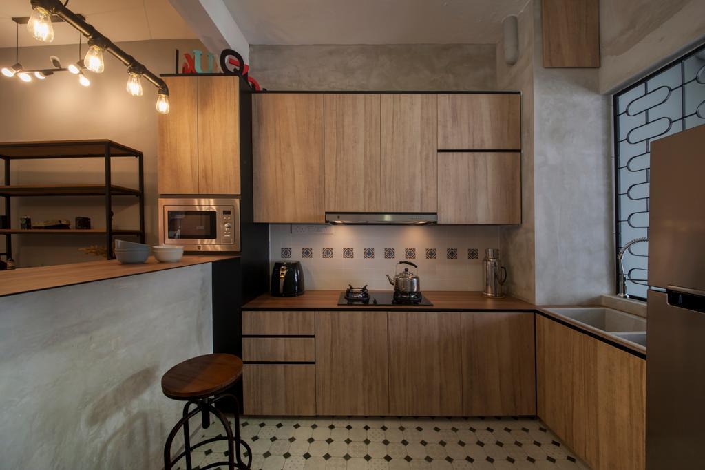 Industrial, Condo, Kitchen, Lakepoint (Block 10), Interior Designer, Voila, Floor Tiles, , Patterned Tiles, Kitchen Tiles, Backplash, Indoors, Interior Design, Room, Bar Stool, Furniture