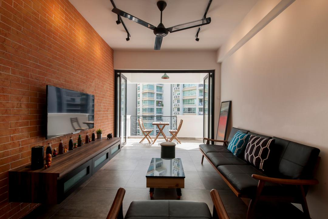 Lakepoint (Block 10), Voila, Industrial, Living Room, Condo, Brick Wall, Red Brick Wall, Sofa, Black Sofa, Coffee Table, Ceiling Fan, Black Ceiling Fan, Tv Console, Tv Cabinet, Floating Console, Chair, Furniture, Dining Room, Indoors, Interior Design, Room, Brick