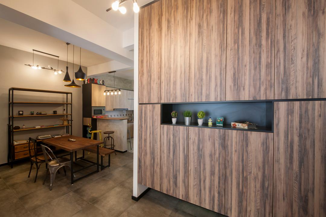 Lakepoint (Block 10), Voila, Industrial, Dining Room, Condo, Cabinet, Cabinetry, Laminate, Wood Grain, Recessed Shelves, Dining Table, Furniture, Table, Indoors, Interior Design
