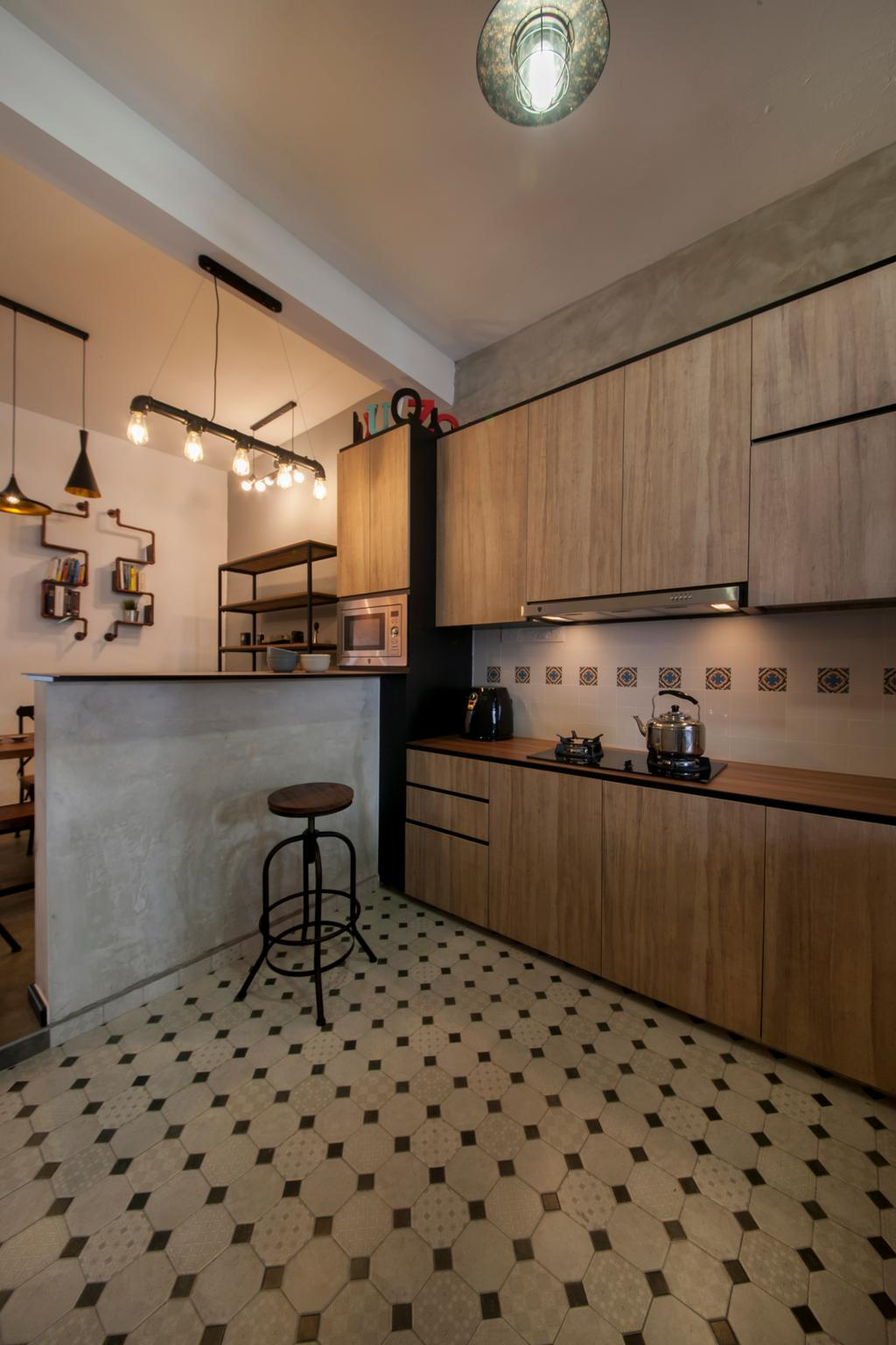Industrial, Condo, Kitchen, Lakepoint (Block 10), Interior Designer, Voila, Checkers, Checkered Tiles, Patterned Tiles, Kitchen Floor Tiles, Bar Stool, Furniture, Indoors, Interior Design, Room, Lamp