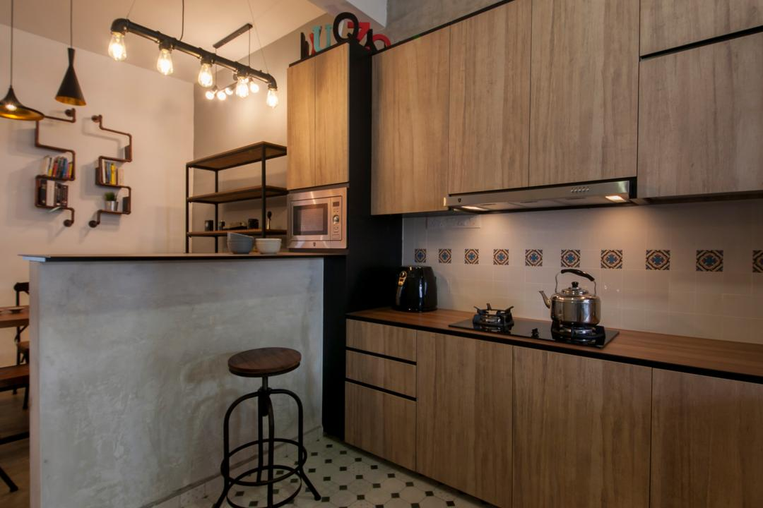 Lakepoint (Block 10), Voila, Industrial, Kitchen, Condo, Checkers, Checkered Tiles, Patterned Tiles, Kitchen Floor Tiles, Bar Stool, Furniture, Indoors, Interior Design, Room, Lamp