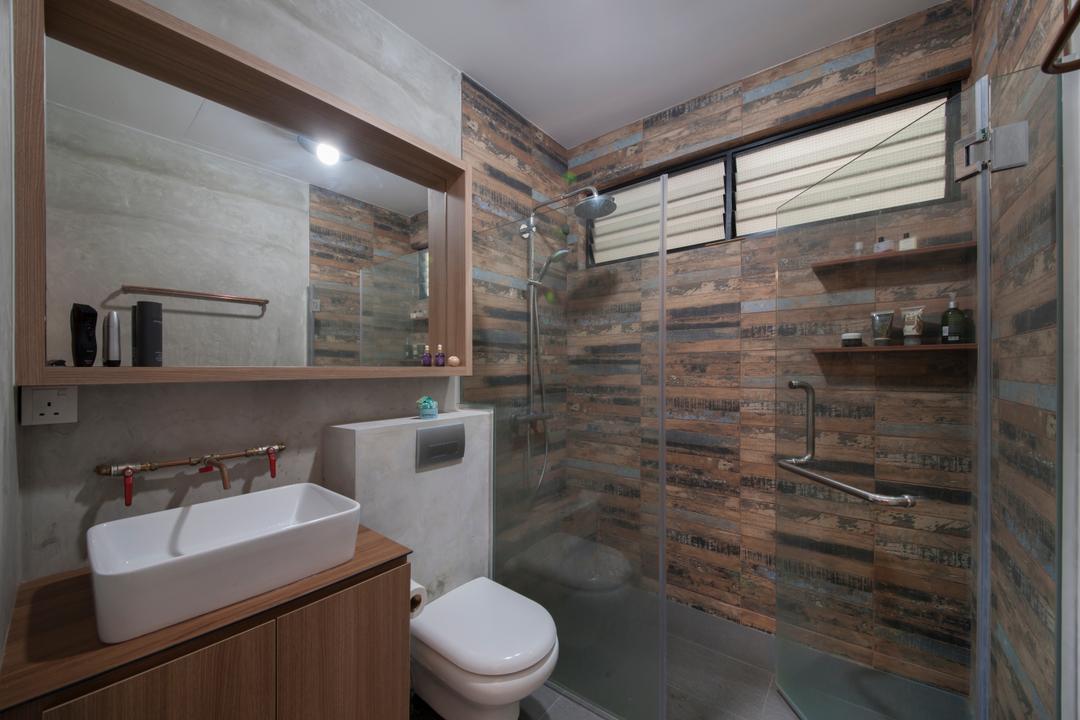 Lakepoint (Block 10), Voila, Industrial, Bathroom, Condo, Bathroom Tiles, Craftstones, Rustic, Shower Door, Shower Screen, Bathroom Vanity, Vessel Sink, Water Closet, Toilet Bowl, Mirror, Bathroom Cabinet, Toilet