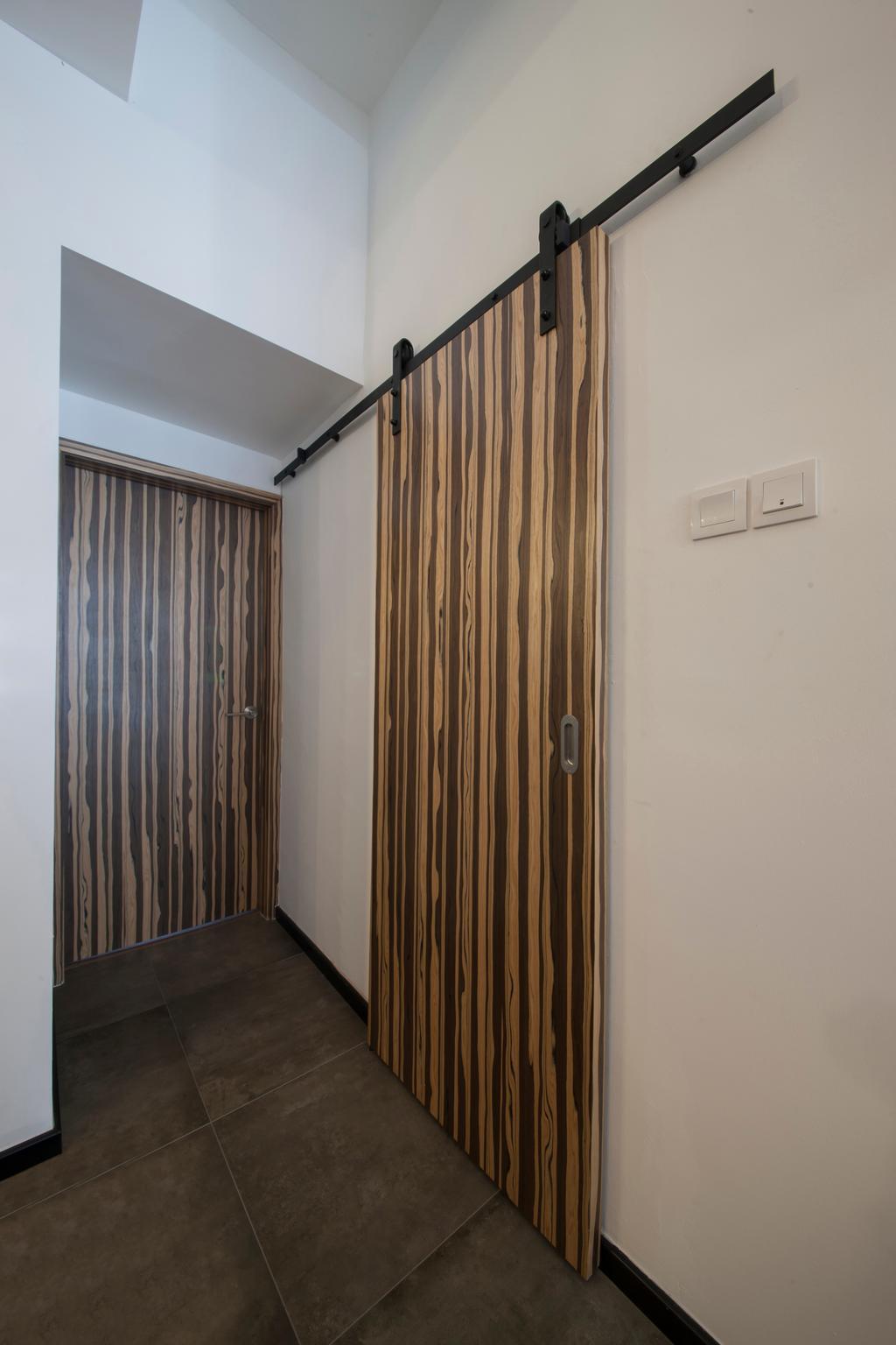 Industrial, Condo, Bedroom, Lakepoint (Block 10), Interior Designer, Voila, Door, Sliding Door, Curtain, Home Decor