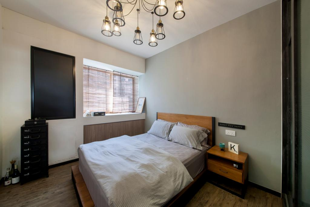Industrial, Condo, Bedroom, Lakepoint (Block 10), Interior Designer, Voila, Hanging Lamp, Pendant Lamp, Industrial Style Lamp, Bed Ledge, Bedside Table, Grey Wall, Side Table, Indoors, Interior Design, Room, Bed, Furniture