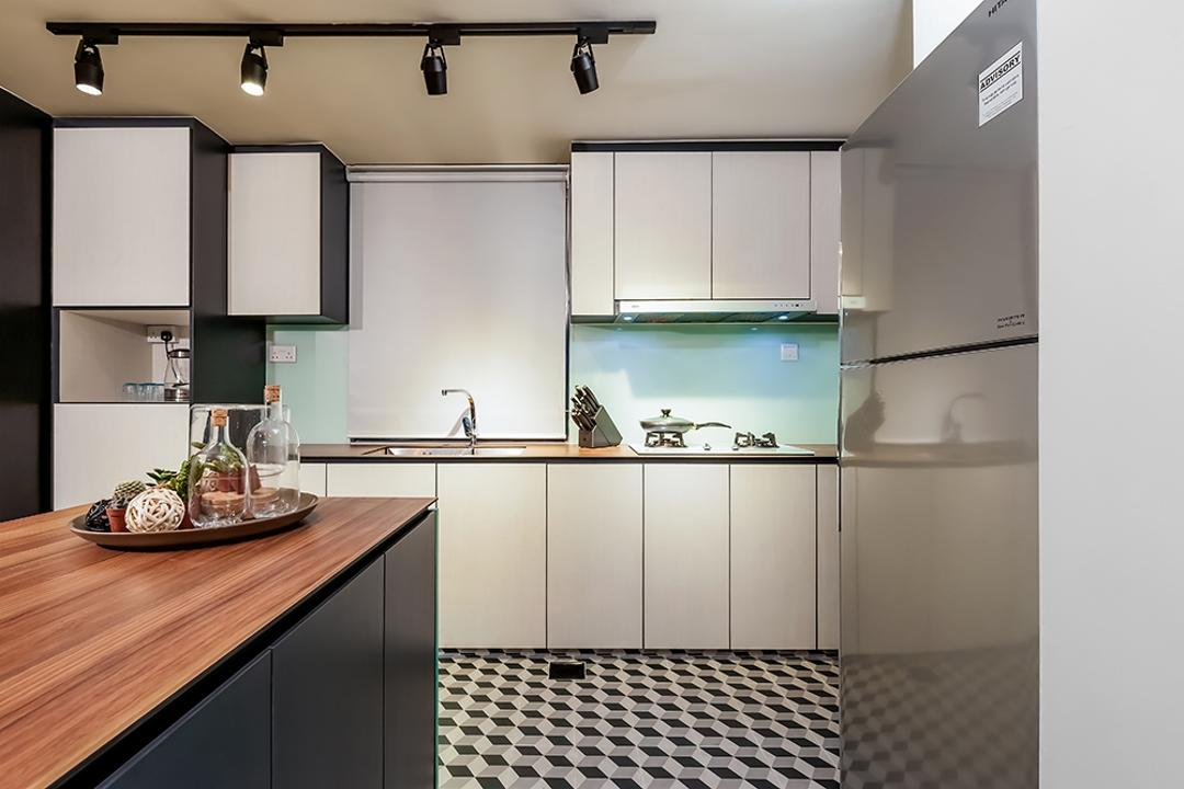 Clementi, Icon Interior Design, Contemporary, Kitchen, Condo, Kitchen Cabinet, Cabinetry, White Cabinet, Wood Countertop, Kitchen Tiles, Floor Tiles, Patterned Tiles, Geometric Tiles, Track Lighting, Indoors, Interior Design, Room, Projection Screen, Screen, Lighting
