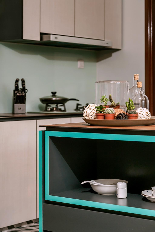 Contemporary, Condo, Kitchen, Clementi, Interior Designer, Icon Interior Design, Blue Trims, Kitchen Cabinet, Kitchen Shelf, Lock, Cactus, Flora, Plant, Cooker