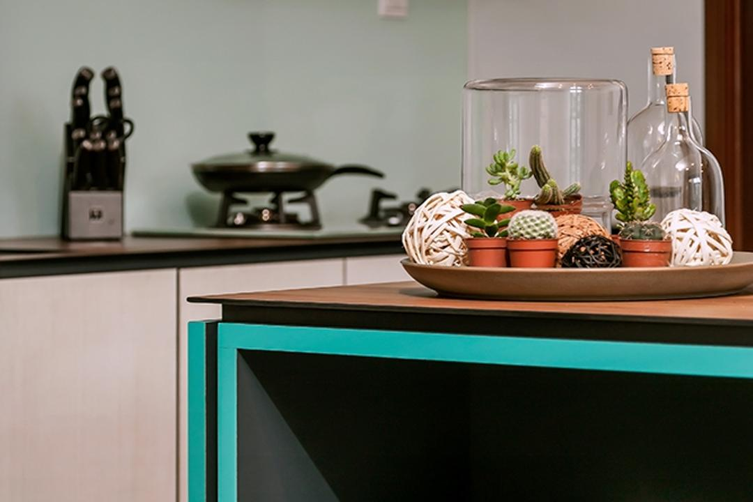 Clementi, Icon Interior Design, Contemporary, Kitchen, Condo, Blue Trims, Kitchen Cabinet, Kitchen Shelf, Lock, Cactus, Flora, Plant, Cooker
