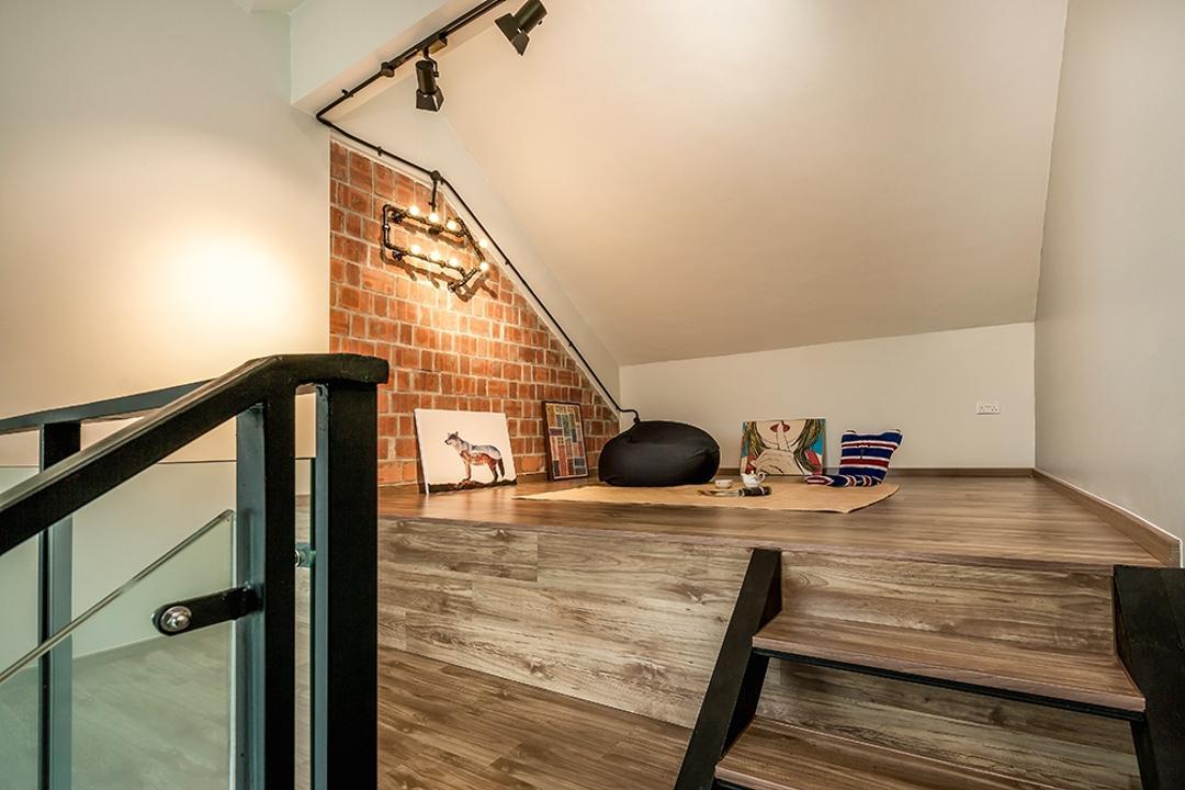 Clementi, Icon Interior Design, Contemporary, Living Room, Condo, HDB, Building, Housing, Indoors, Loft, Railing, Boardwalk, Bridge