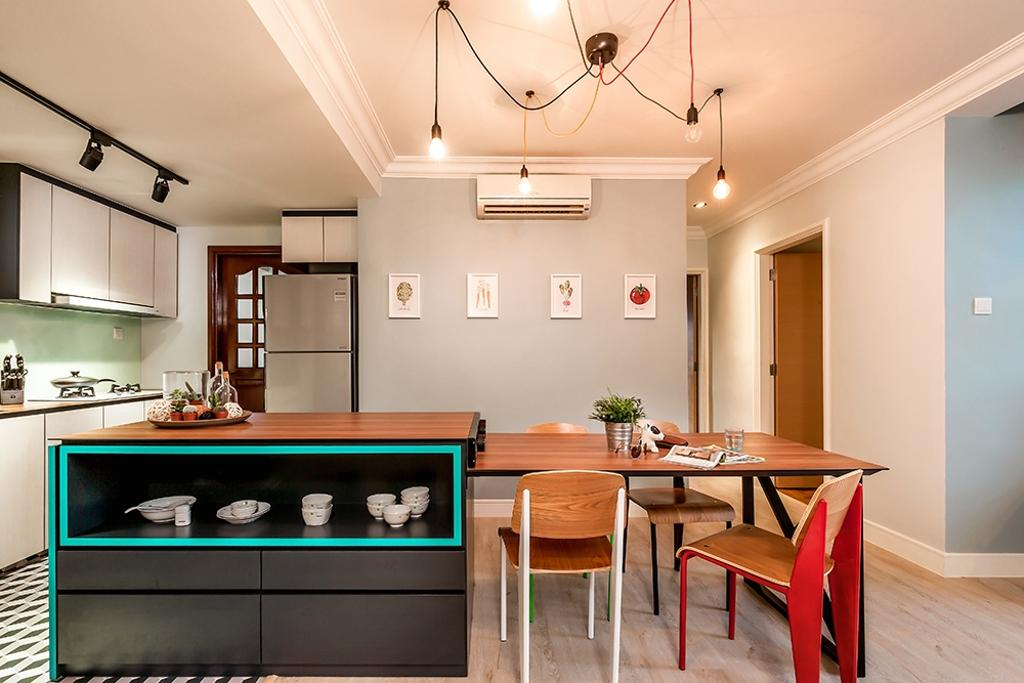Contemporary, Condo, Kitchen, Clementi, Interior Designer, Icon Interior Design, Kitchen Island, Kitchen Island Attached Table, Dining Table, Chairs, Warm Lighting, Storage, Shelf, Black Cabinet, Wood Countertop, Furniture, Table, Dining Room, Indoors, Interior Design, Room, Chair