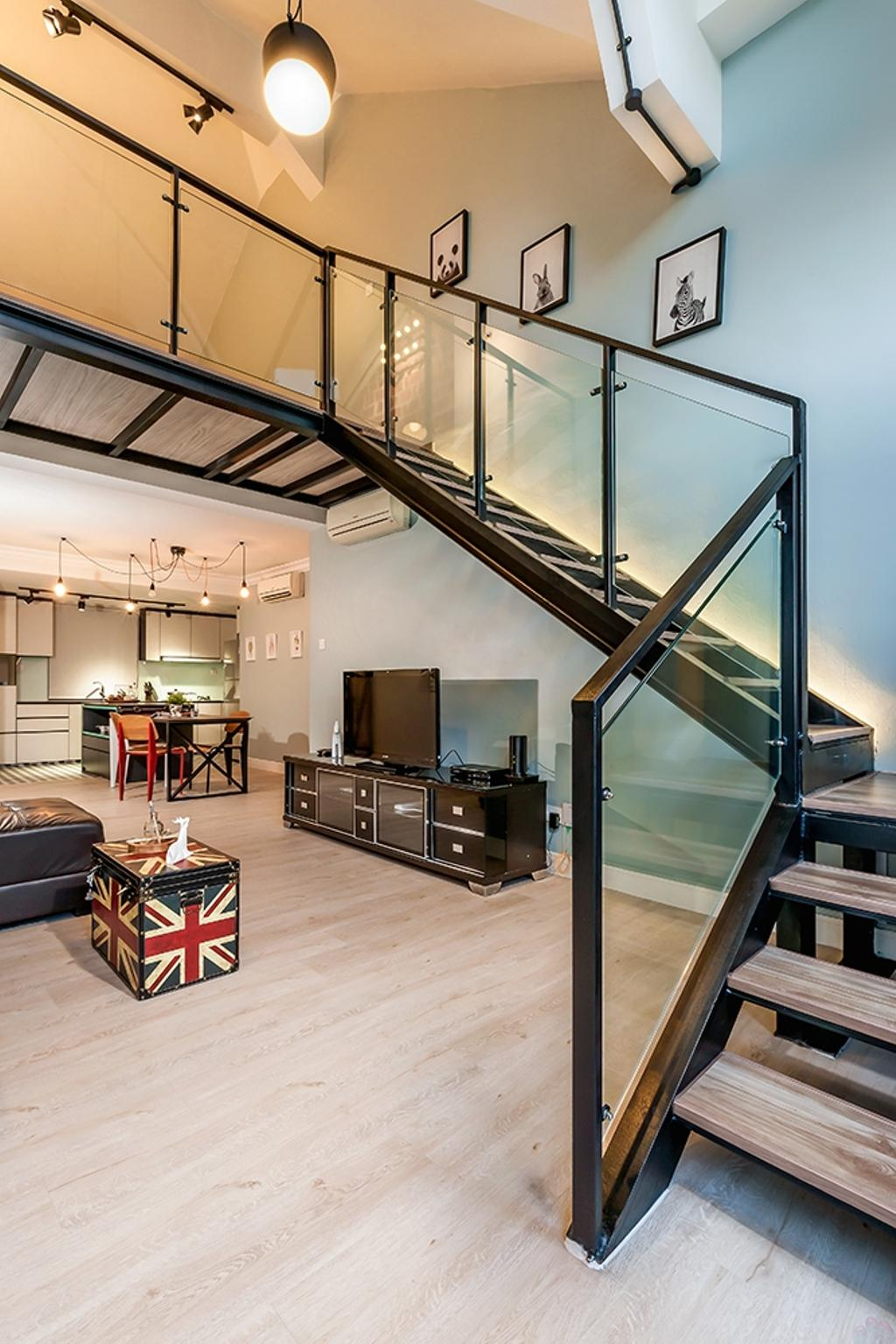 Contemporary, Condo, Living Room, Clementi, Interior Designer, Icon Interior Design, Staircase, Stairs, Wall Frame, Painting, High Ceiling, Loft, HDB, Building, Housing, Indoors, Couch, Furniture, Electronics, Monitor, Screen, Tv, Television