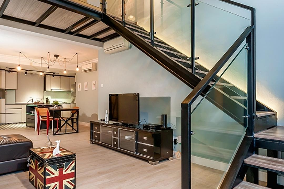 Clementi, Icon Interior Design, Contemporary, Living Room, Condo, Staircase, Stairs, Wall Frame, Painting, High Ceiling, Loft, HDB, Building, Housing, Indoors, Couch, Furniture, Electronics, Monitor, Screen, Tv, Television