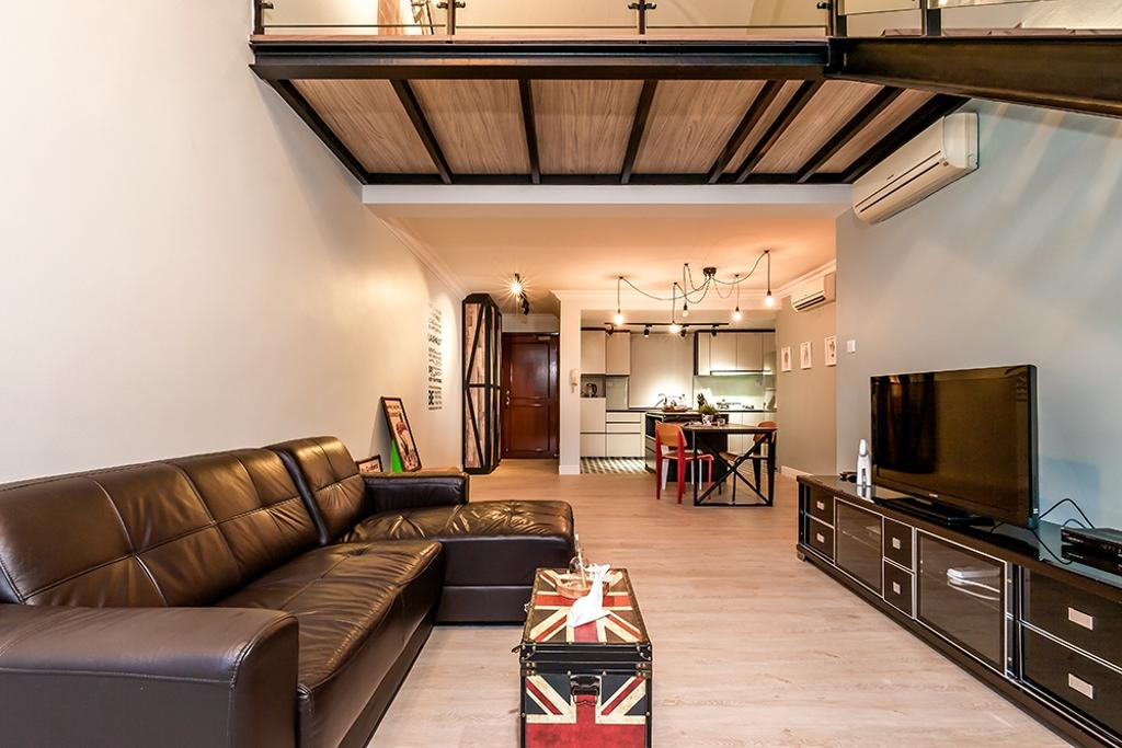 Contemporary, Condo, Living Room, Clementi, Interior Designer, Icon Interior Design, Sectionals, L Shaped Sofa, Trunk Coffee Table, Tv Cabinet, Aircon, Couch, Furniture, Indoors, Room