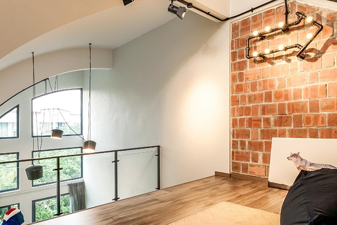 Clementi, Icon Interior Design, Contemporary, Living Room, Condo, Cosy Corner, Track Lighting, Brick Wall, Red Brick Wall, Beanbag, Couch, Furniture, Window, Plywood, Wood