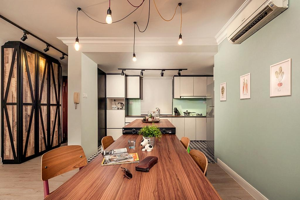 Contemporary, Condo, Dining Room, Clementi, Interior Designer, Icon Interior Design, Light Green, Pastel Green, Green Wall, Dining Table, Woody, Pendant Lamp, Hanging Lamp, Light Bulb Pendant Lamp, Exposed Bulb Lamp, HDB, Building, Housing, Indoors, Loft, Interior Design, Room, Flora, Jar, Plant, Potted Plant, Pottery, Vase, Hardwood, Stained Wood, Wood, Couch, Furniture