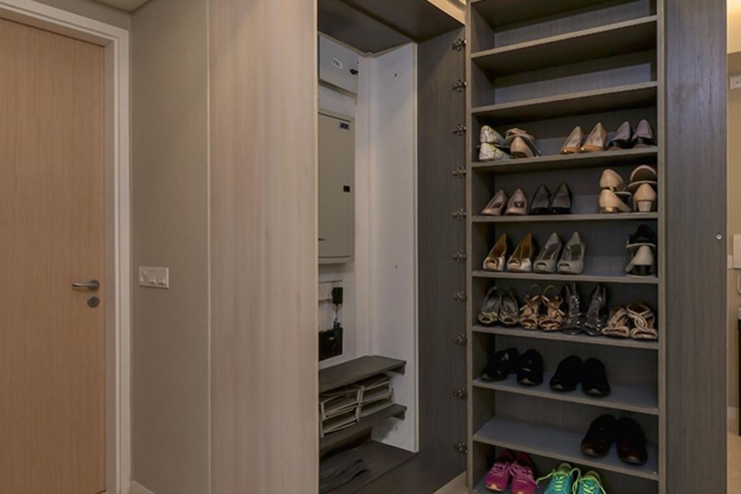 Lakeside, Icon Interior Design, Modern, Living Room, Condo, Shoe Cabinet, Concealed Cabinet, Hidden Cabinet, Storage, Storage Ideas
