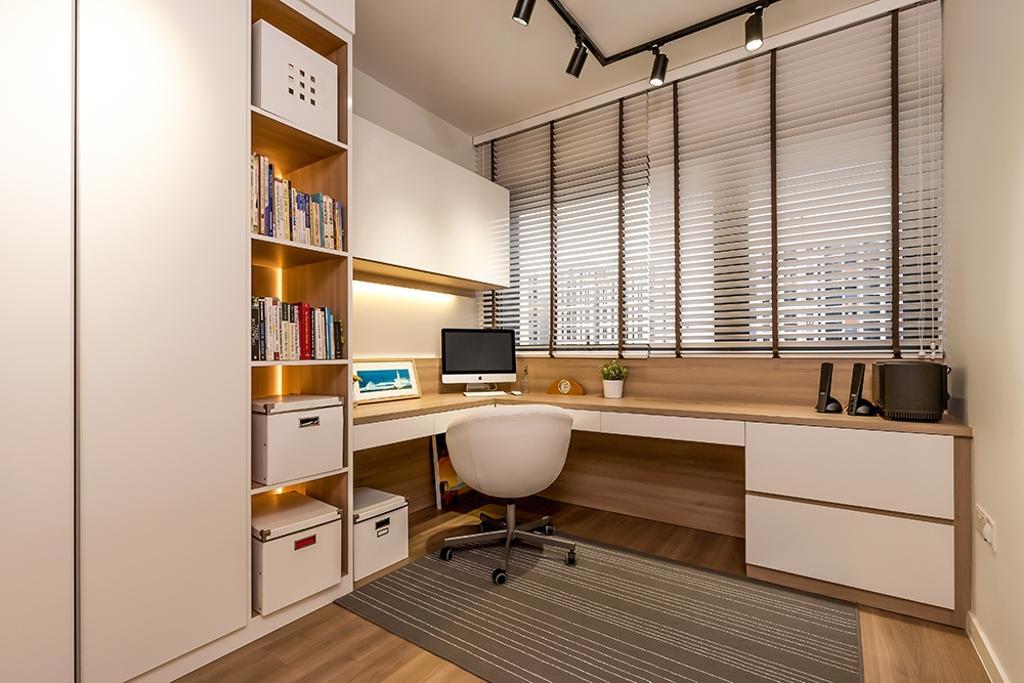 Modern, Condo, Study, Lakeside, Interior Designer, Icon Interior Design, Cabinet, White Cabinet, Shelves, Storage Space, Bookshelf, Books, Storage, Study Table, Office Chair, Blinds, Venetian Blinds