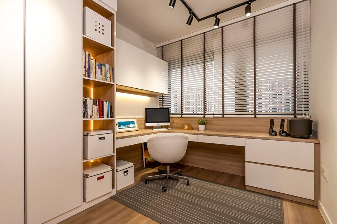 Lakeside, Icon Interior Design, Modern, Study, Condo, Cabinet, White Cabinet, Shelves, Storage Space, Bookshelf, Books, Storage, Study Table, Office Chair, Blinds, Venetian Blinds