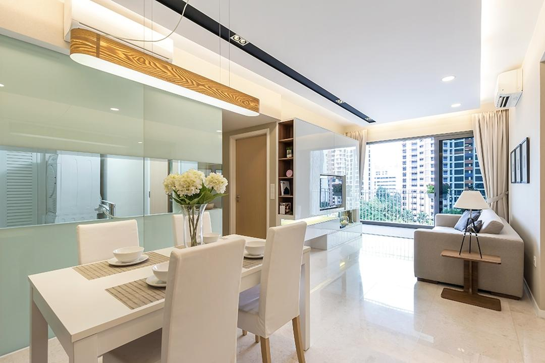 Lakeside, Icon Interior Design, Modern, Dining Room, Condo, Dining Table, Dining Chairs, White Chairs, White Furniture, Flowers, Tableware, Hanging Lamp, Long Lamp, False Ceiling, Downlight, Cove Lighting, Furniture, Table, Bathroom, Indoors, Interior Design, Room
