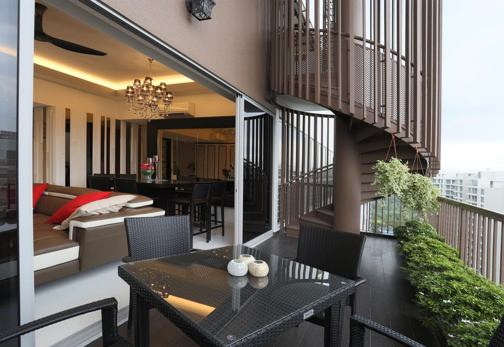 Transitional, Condo, Balcony, Austville, Interior Designer, United Team Lifestyle, Balcony Furniture, Dining Table, Dining Chairs, Black Table, Black Furniture, Spiral Staircase, Maisonette, Chair, Furniture, Conifer, Flora, Plant, Tree, Yew, Dining Room, Indoors, Interior Design, Room