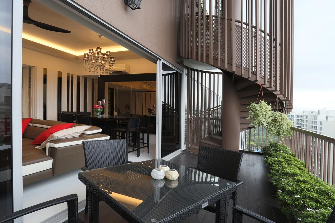 Austville, United Team Lifestyle, Transitional, Balcony, Condo, Balcony Furniture, Dining Table, Dining Chairs, Black Table, Black Furniture, Spiral Staircase, Maisonette, Chair, Furniture, Conifer, Flora, Plant, Tree, Yew, Dining Room, Indoors, Interior Design, Room