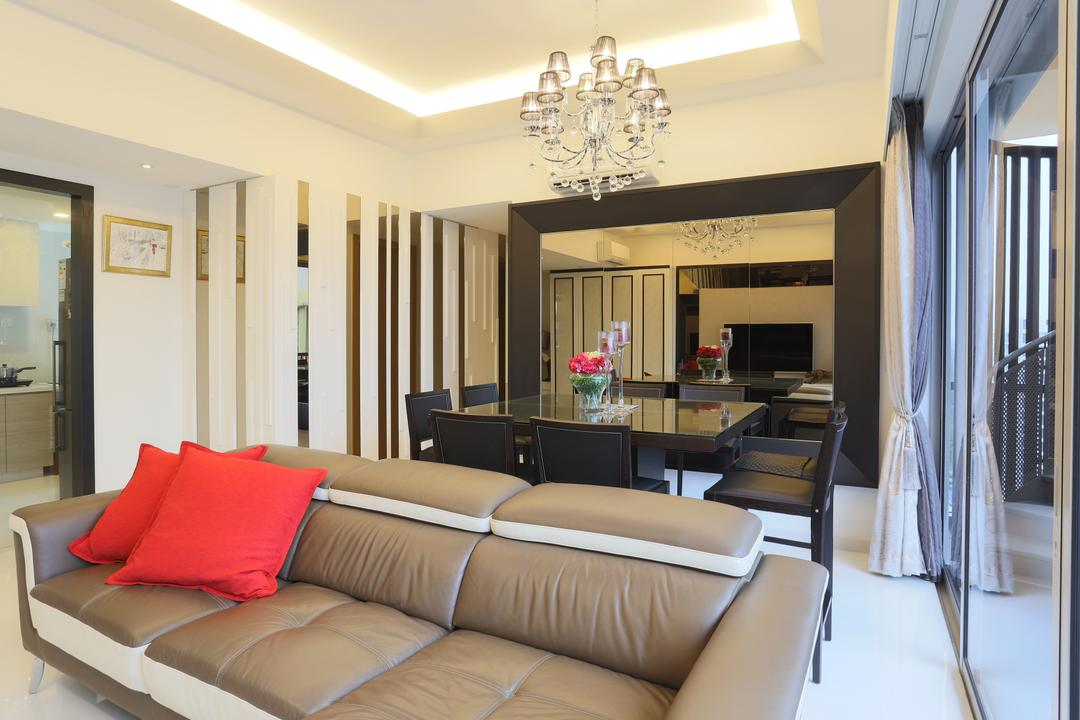 Austville, United Team Lifestyle, Transitional, Living Room, Condo, Chandelier, False Ceiling, Cove Lighting, Sofa, Leather Sofa, Cushion, Three Seater, 3 Seater, Crystal Lights, Couch, Furniture, Chair, Indoors, Room