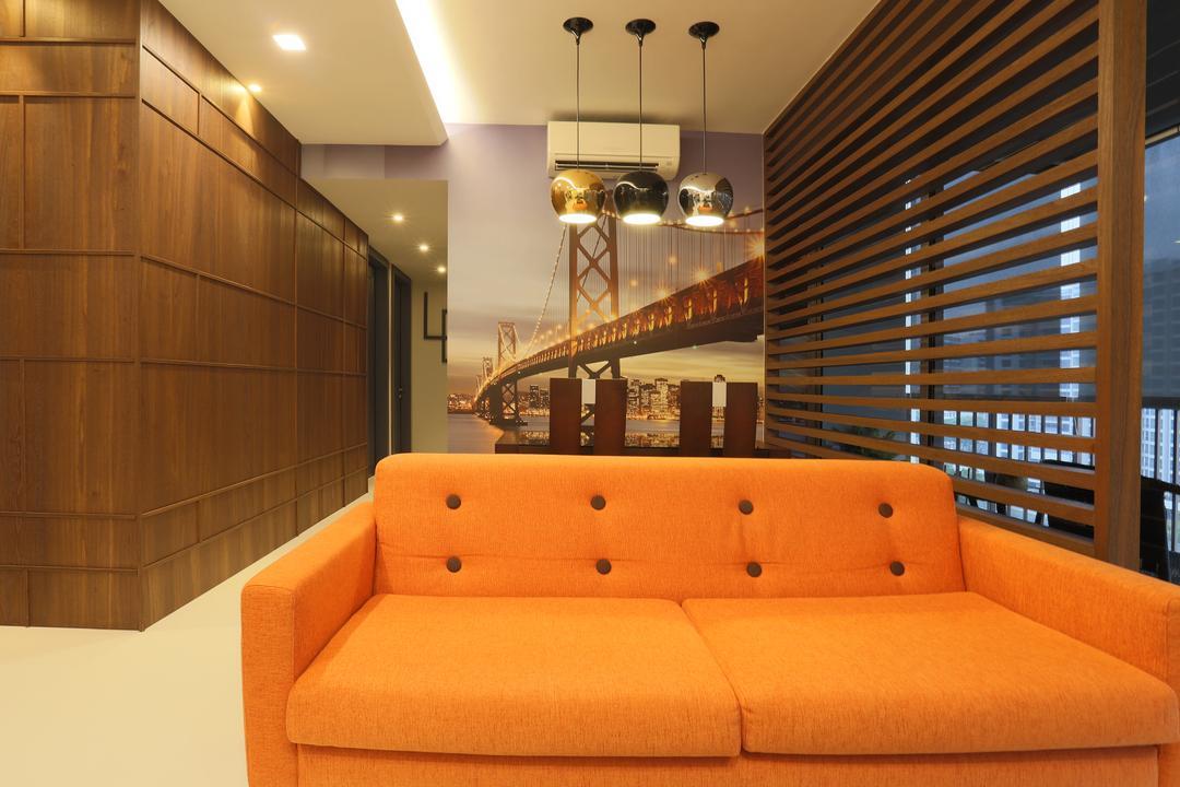 Austville 2, United Team Lifestyle, Minimalist, Living Room, Condo, Orange Sofa, Sofa, Fabric Sofa, Bright Colours, Partition, Pendant Lamp, Wood, Dark Wood, Couch, Furniture, Indoors, Interior Design