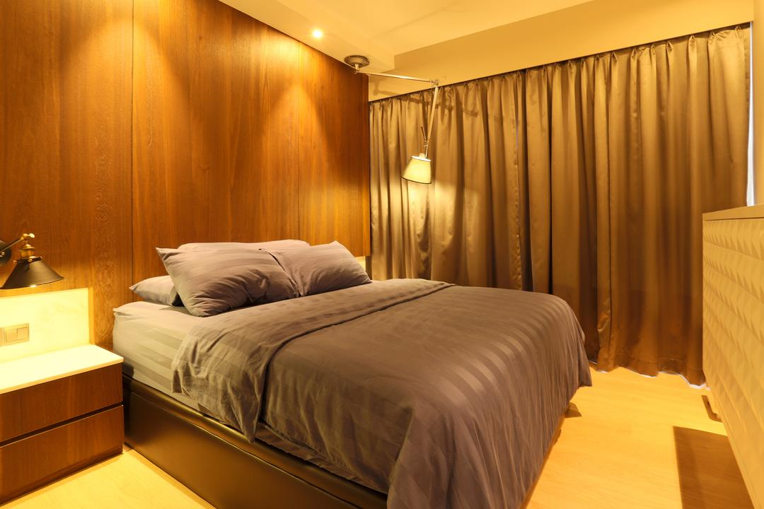Austville 2, United Team Lifestyle, Minimalistic, Bedroom, Condo, Bed, Warm Lighting, Yellow Lighting, Brown Wall, Bedside Table, Bedside Lamp, Curtains, Indoors, Room, Furniture