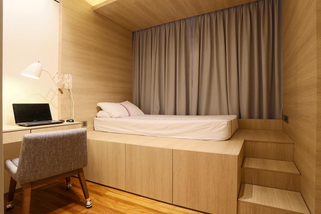 D'Leedon, United Team Lifestyle, Contemporary, Bedroom, Condo, Platform Bed, Mini Stairs, Stairs, Curtains, Wood, Light Wood, Chairs, Table Lamp, Chair, Furniture, Computer, Electronics, Laptop, Pc