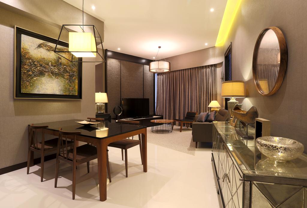 Contemporary, Condo, Dining Room, D'Leedon, Interior Designer, United Team Lifestyle, Dining Table, Dining Chaies, Black Table, Black Chairs, Side Cabinet, Silver, Silver Furniture, Mirror, Round Mirror, Pendant Lamp, Hanging Lamp, Painting, Furniture, Table, Light Fixture, Indoors, Interior Design, Room