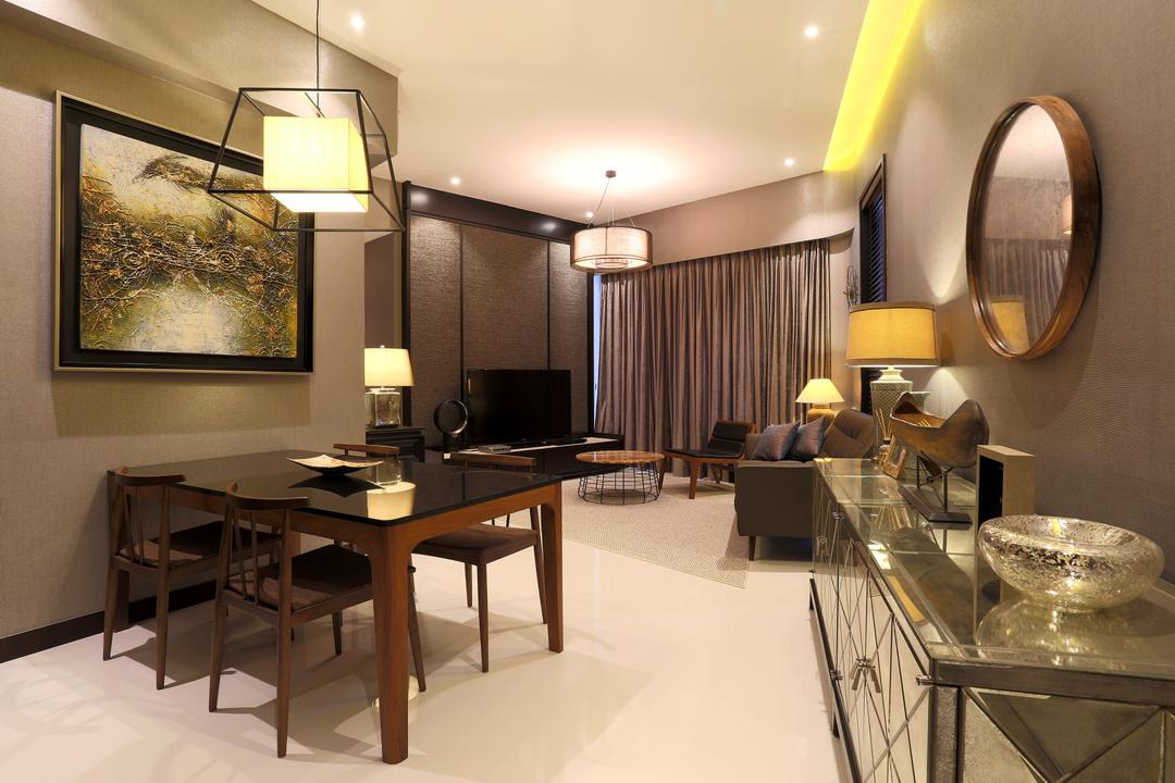 D'Leedon, United Team Lifestyle, Contemporary, Dining Room, Condo, Dining Table, Dining Chaies, Black Table, Black Chairs, Side Cabinet, Silver, Silver Furniture, Mirror, Round Mirror, Pendant Lamp, Hanging Lamp, Painting, Furniture, Table, Light Fixture, Indoors, Interior Design, Room