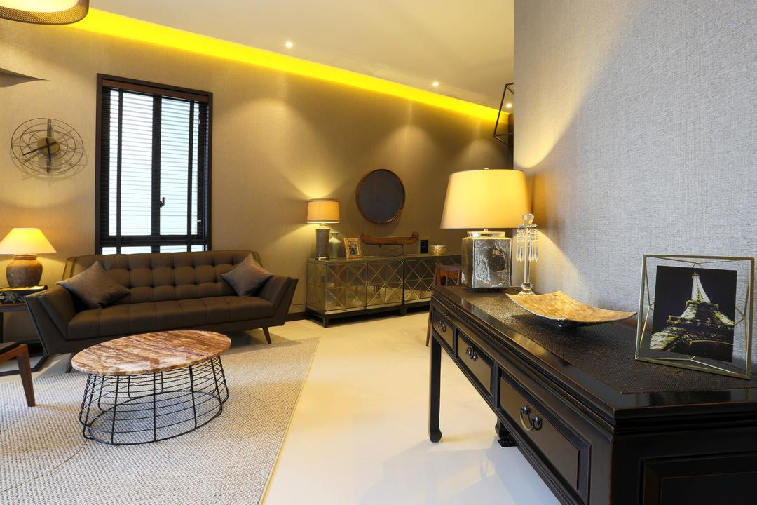 D'Leedon, United Team Lifestyle, Contemporary, Living Room, Condo, Side Cabinet, Side Board, Photo Frames, Table Lamp, Cove Lighting, Warm Lighting, Wall Clock, Couch, Furniture, Indoors, Interior Design, Chair, Room, Lighting, Lamp